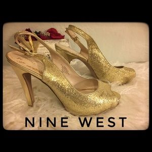 Beautiful! Nine West Sparkly Gold Heels 6 1/2